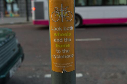 Belfast City - Useful Notice Telling You How to Lock Your Bicycle