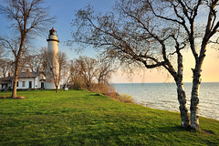 """First Light""  Point Aux Barques Lighthouse - Port Hope, Michigan (Michigan Nut) Tags: usa sunrise geotagged dawn wideangle greatlakes lakehuron birchtree michiganlighthouses pointeauxbarqueslighthouse pointauxbarqueslighthouse michigannutphotography"