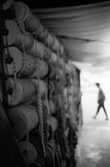 bazaar (dogpong) Tags: bazaar nikonfa kodaktrix400 fabricsmarket