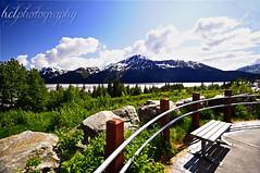 39/365 (haley lorenson) Tags: ocean mountains water alaska clouds bench landscape greenery inlet handrail 365 parkbench haley railings 39 lorenson 39365 hclphotography