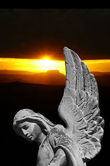 iphone wallpaper angel and sunset