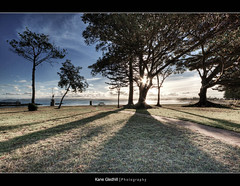 Evening Shadows ([ Kane ]) Tags: blue trees light sea newzealand sky sun tree green beach grass statue clouds table ray shadows pack rays kane hdr gisborne eastcoast eastland eastcape waikanae gledhill waikanaebeach kanegledhill humanhabits youngnicks kanegledhillphotography