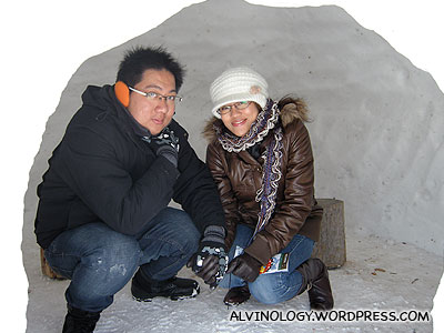 Rachel and I hiding in an igloo