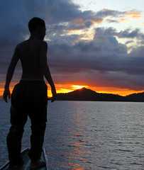 Boatboy and the Sunset (annemich928) Tags: travel beach philippines lagoon coron palawan busuanga calamiangroup travelista