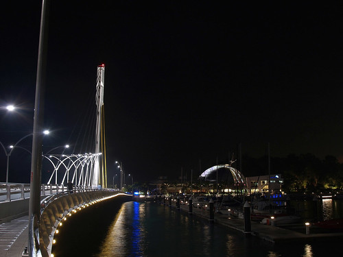 Looking across the cable-stayed bridge