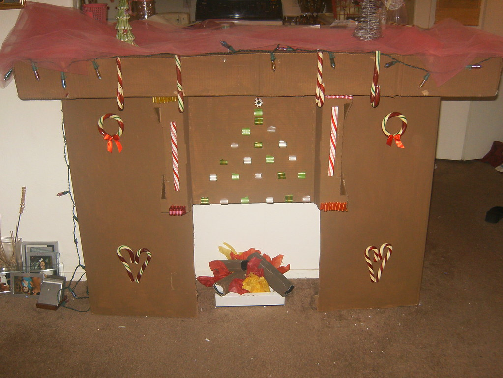 cardboard fireplace and mantle