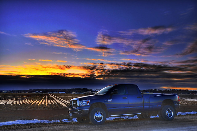 road blue sunset sky snow ontario canada cold clouds rural photoshop canal 4x4 diesel d farm pickuptruck farmland marsh powerful hdr brrrrr dually photomatix hwy400 350hp nikond90 dodgeram3500 winter2009 cummingsturbodiesel ~aruralsunset~ whereisthiswoman