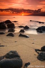 Maui Sunset (Nitschke Photography) Tags: ocean sunset sea sun seascape beach rock landscape photography hawaii lava sand nikon nolan maui hawaiian nitschke