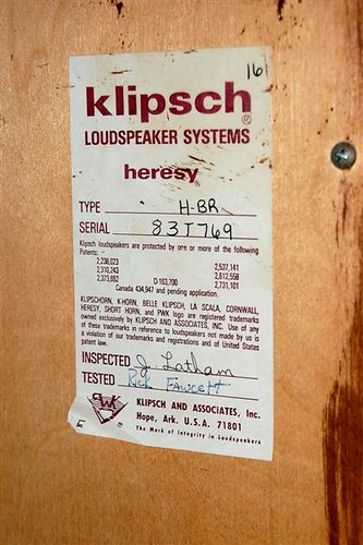Klipsch Heresy's [Archive] - Tapeheads Tape, Audio and Music Forums
