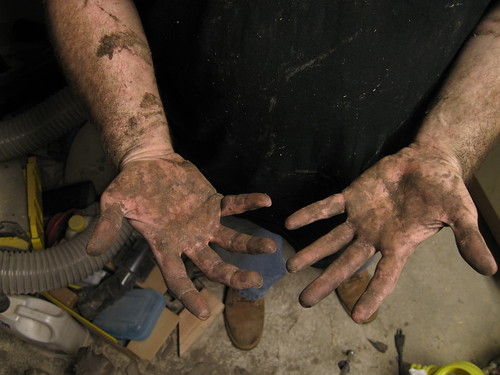 extremely sap-covered, dirty hands