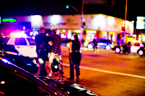 A fuzzy picture of collective punishment.  LAPD gives bogus, frivolous, and spiteful citations to cyclists-March 21, 2009-FUN_4788