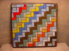 chunky tiles 2009 (insitudecorativearts) Tags: flowers art mixed media pears mosaic decorative stripes crafts arts papier mache decoupage insitu