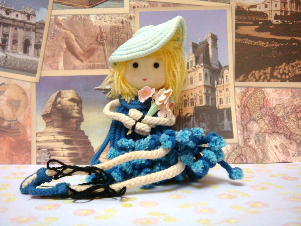 DrawString Doll - Sweet Girl in Blue Dress with Flowers