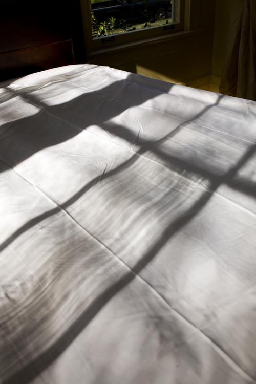 Window Silhouette on White Sheet