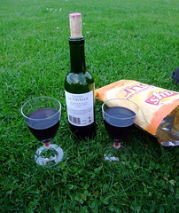 Wine and crisps in the park