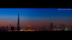 Dubai Skyline :: Blue Hour (DanielKHC) Tags: city blue panorama skyline digital interestingness high nikon dubai dynamic dusk uae explore hour range dri hdr blending d300 dynamicrangeincrease burjdubai danielcheong danielkhc nikkor70300mmf4556vr 818meters 160floors gettyimagesmeandafrica1