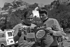 Shatner and Nimoy look at Mad Magazine (birdofthegalaxy) Tags: startrek television 35mm spock sciencefiction mad leonardnimoy kirk shatner madmagazine nimoy tos filmclip williamshatner theoriginalseries culttv starblecch