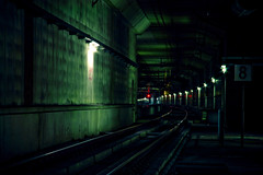 Underground 8 (DS) Tags: blue red urban green lamp lines station wall dark underground stars lights graffiti airport shadows gloomy post vibrant pipes 8 atmosphere tunnel trains eerie trainstation rails curve schiphol eight harsh afterdark rds ambiance treinen luchthaven ondergronds ds