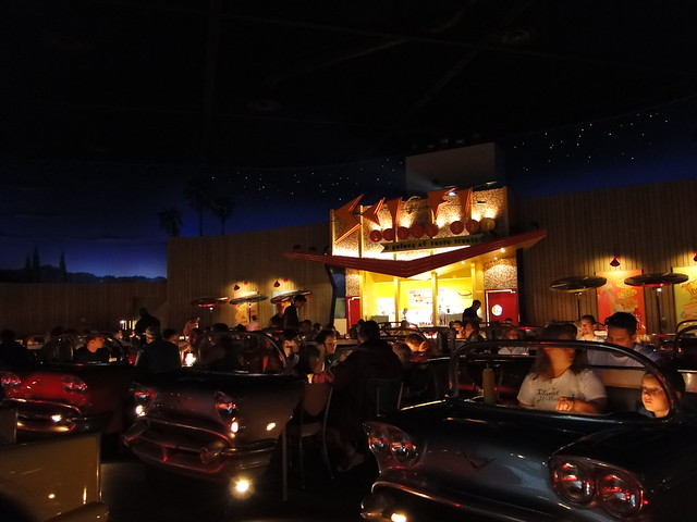 Very Cool Atmosphere here at the Sci-Fi Dine-In Theater, Your Table is car