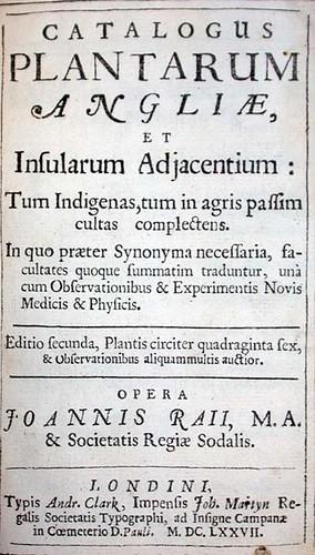 John Ray:  Catalogus plantarum Angliae, et Insularum adjacentium title page