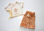 Happiness - shorties & embroidered wrap shirt set - newborn