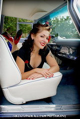 Model Viviane@ The El Cajon Classic (christopherallisonphotography.com) Tags: california red cars ford girl truck vintage bench lights model eyes women classiccar doll pretty pumps sandiego sony tail elcajon lips retro gal bumper chrome hotrod rockabilly buckets alpha pinup desoto carshow fins a300 rockabillyboy72 christopherallisonphotography