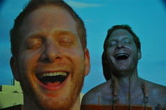 laughing with myself (redjoe) Tags: nyc newyorkcity light man hot color guy me wall night laughing self beard ginger manhattan picture redhead laugh redhair redjoe joehorvath
