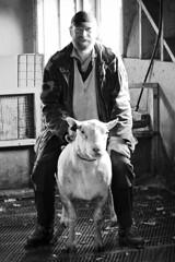 The farmer and his sheep (Maron) Tags: portrait bw smile funny sheep farm farmer amund supermarion marionnesje