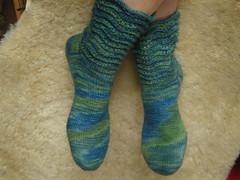 blue lagoon socks (Lykkestrikker) Tags: blue green wool socks knitting mermaid shale stricken handdyed