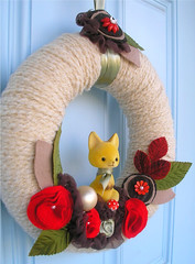 Foxy Yarn Wreath 2 (KnockKnocking) Tags: sculpture baby nature mushroom rose forest scarf altered woodland beads sweet assemblage unique silk chiffon wallart felt scene yarn wreath fox bobblehead etsy fiber whimsical burgandy posy flocked ruffle millinery spun vinatge knockknocking agnesblum