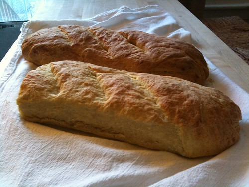 Two freshly baked homemade semolina loaves
