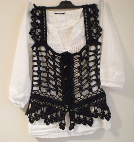 black crochet top by you.