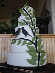 Andrea's Cake 2 Birds (Josef's Vienna Bakery) Tags: vienna trees wedding green leaves birds cake dessert marisa sweet weddingcake flames nevada tahoe tasty bakery caketopper reno bridal sparks tier hess fondant handmadeflower josefs