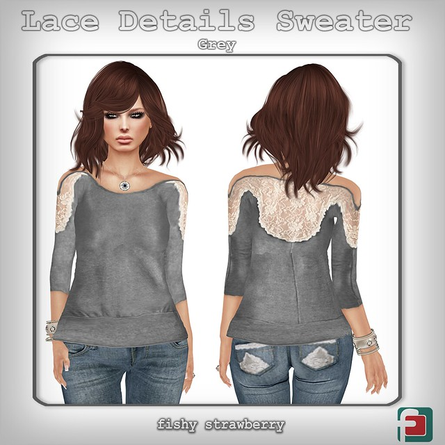 Lace Details Sweater Grey