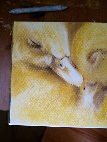 Working on some sleepy ducklings, soft pastel. by jennyfrith