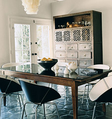 Modern mix L.A. dining room: Stained tile floors + shell chandelier (xJavierx) Tags: interior design decor decorating interiordesign diningroom diningtable diningchairs domino dominomagazine melanieacevedo claireforlani losangeles chandelier esteestanley modern rectangulartable terracotta tiles neutral woodtable myfavorites
