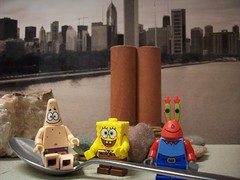 *2-25-09* (Day 56) - Krusty Krab Krew on Vacay (its me...jeff!) Tags: chicago silly funny cityscape patrick spoon spongebob mrkrabs