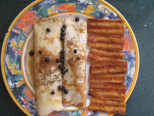 blueberry crepes and tofu bacon