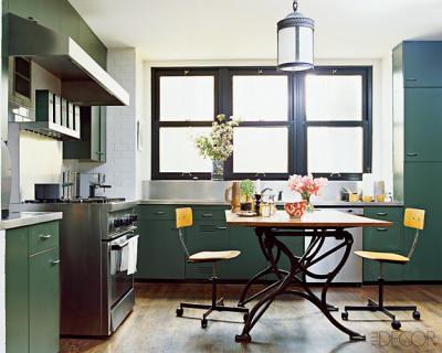 Nate Berkus's vintage kitchen, featured in Elle Decor