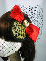 Retro 1940s Leopard Mini Hat with Veil and Bow (LiDDesigns) Tags: red black hat gold veil silk mini retro 1940s bow leopardprint etsy pinup merrywidow millinery artfire cabochon dupion liddesignsboutique