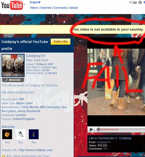 Screengrab of Coldplay's official youtube channel, tell us we can't see their videos in the UK