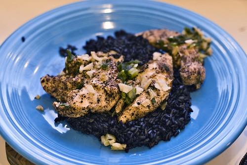 Szechuan chicken and black rice