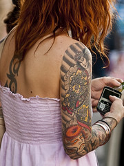 tattoo (Bill Oriani) Tags: street portrait girl tattoo ink austin photography bill back texas blackberry dress redhead sxsw sleeve 2009 6th explored oriani billoriani
