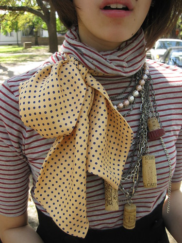 Polka dot scarf, Ralph Lauren; F21 chain belt; Pearls (a gift); DIY cork necklace