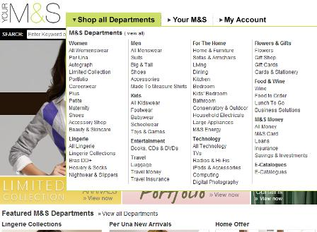 M&S mega drop down menu