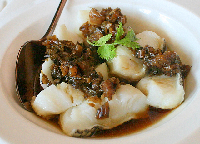 Steamed Fillet of Chilean Seabass with Mei Cai or Preserved Mustard Leaves