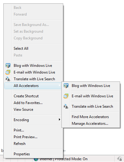ie8 context menu