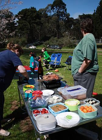 Hanami picnic spread