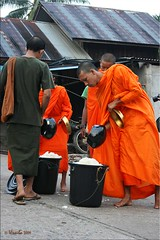 The Rice Bowls Overflow (Ursula in Aus (Away)) Tags: street morning man male thailand bucket rice buddhist monk buddhism mon kanchanaburi alms  sangkhlaburi   almsbowl earthasia