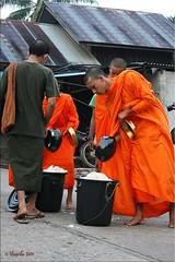 The Rice Bowls Overflow (Ursula in Aus) Tags: street morning man male thailand bucket rice buddhist monk buddhism mon kanchanaburi alms  sangkhlaburi   almsbowl earthasia